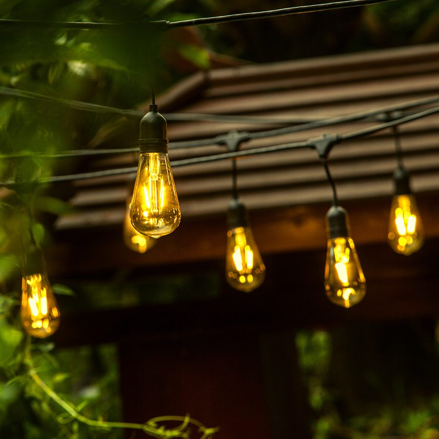 Lowe's outdoor string lights with vintage bulbs