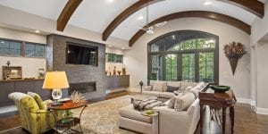 Ross Lane family room by cincinnati luxury home builder