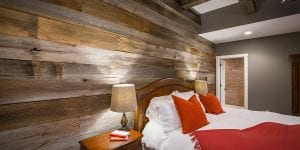 Barn wood wall on cincinnati custom home