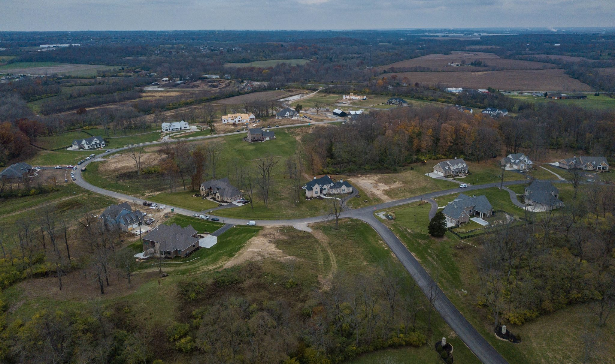 aerial view of site new home construction Cincinnati