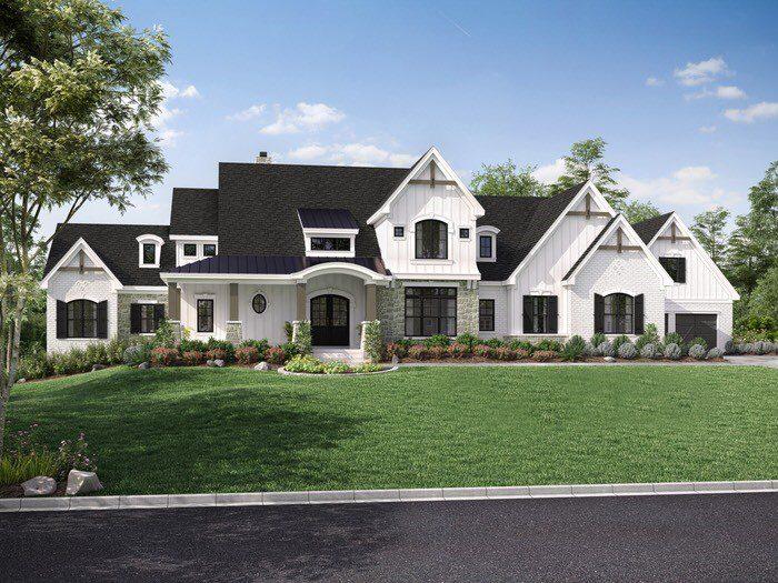 rendering for modern farmhouse custom home new home construction Cincinnati