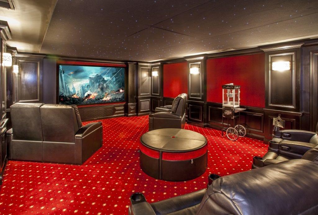 Home theater in Cincinnati custom home