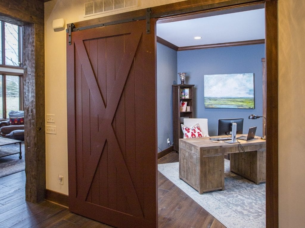best home office setup with barn door