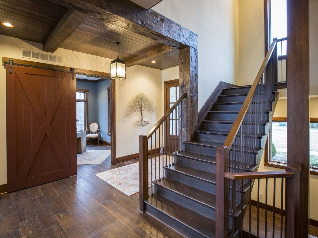 Lynnewood Cincinnati New Home Construction Timber Frame Staircase