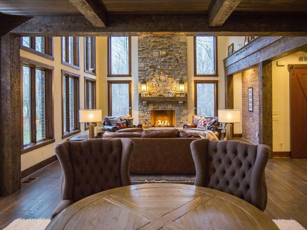 Great room by Cincinnati Custom Home Builder