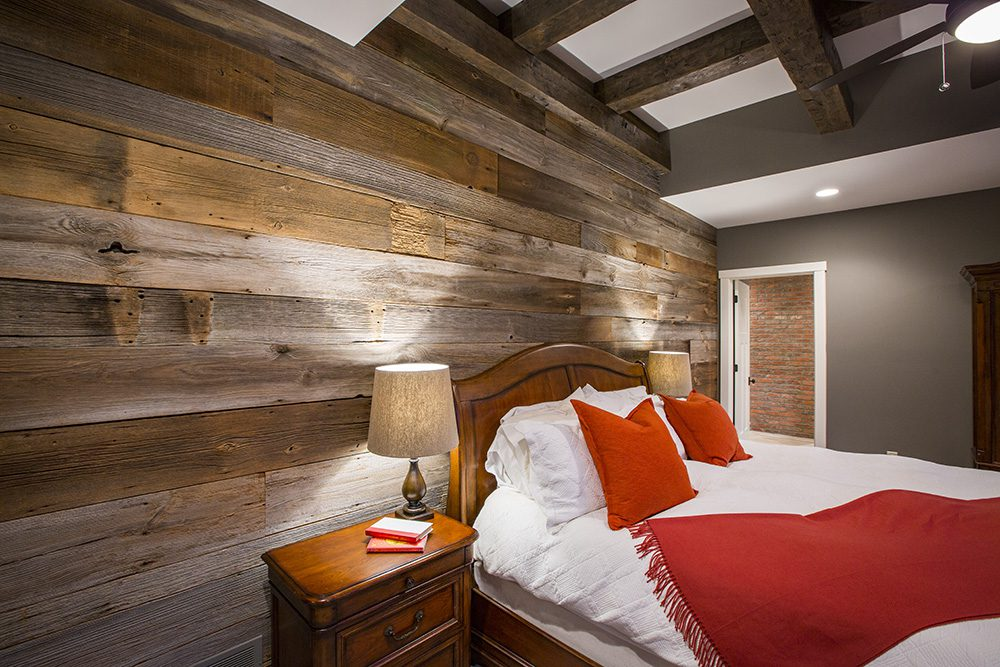 Barn wood wall on cincinnati custom home