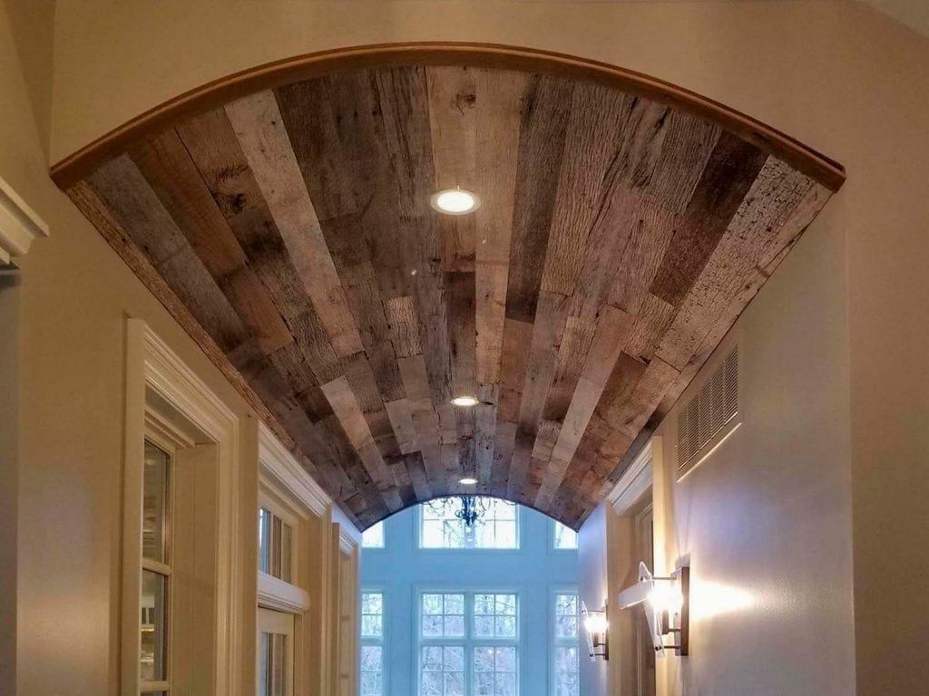 barn wood ceiling for Cincinnati custom home