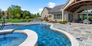 pool and spa at Cincinnati custom home