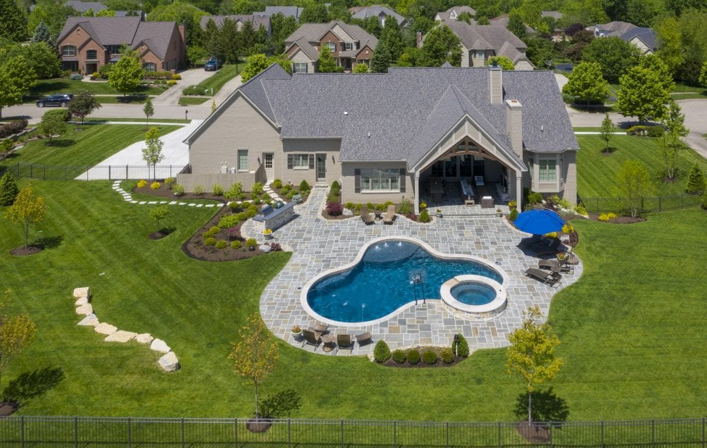 drone photo of luxury home cincinnati