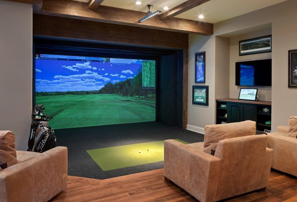 golf simulator in Cincinnati custom home