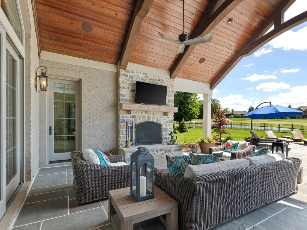 This outdoor entertaining area has high ceilings and makes a statement