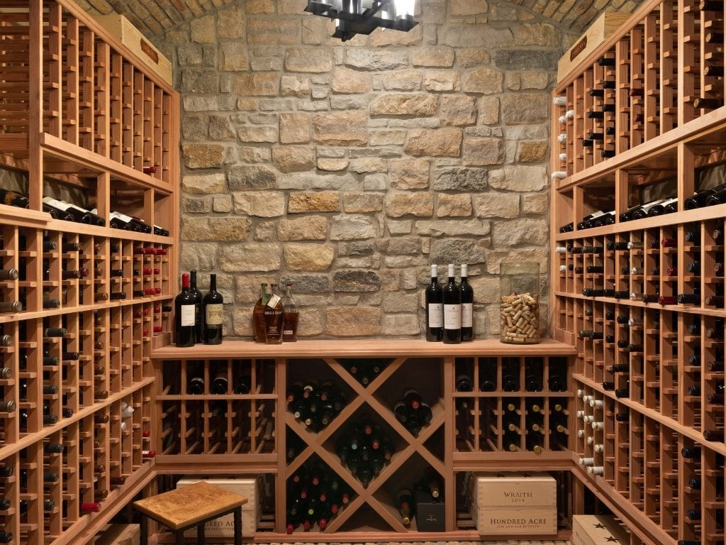Wine storage in a finished Lower Level in Cincinnati custom home