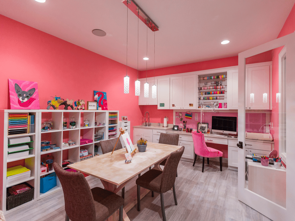 Pink Craft Room for Mom in a Hensley Home