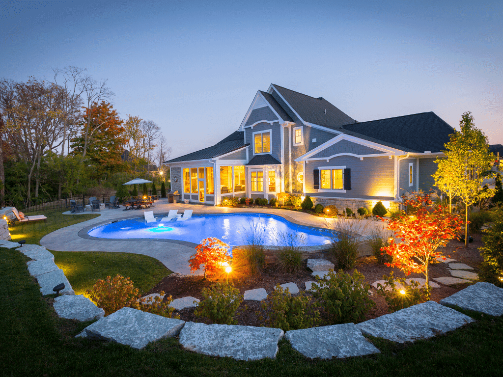 custom home pool at night
