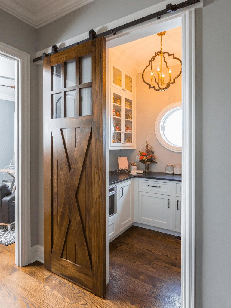 kitchen trends 2021 pantry with barn door