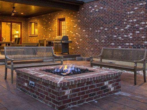 gas firepit by cincinnati custom home builder