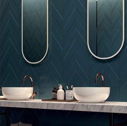 dark tile master bath trend