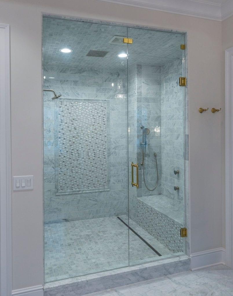 master shower with gold hardware in custom home cincinnati