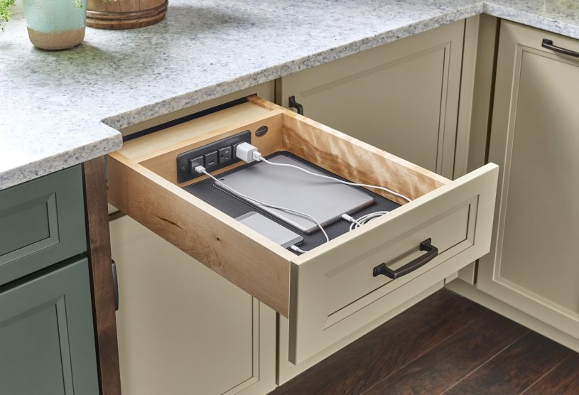 Charging drawer in kitchen cabinet