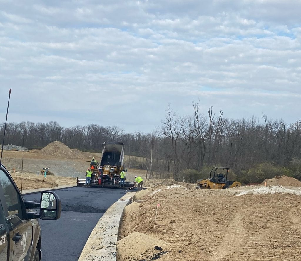 paving crews working at the Meadows at Peterloon