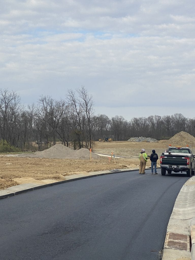curbs paving and storm sewers in new roads at The Meadows at Peterloon