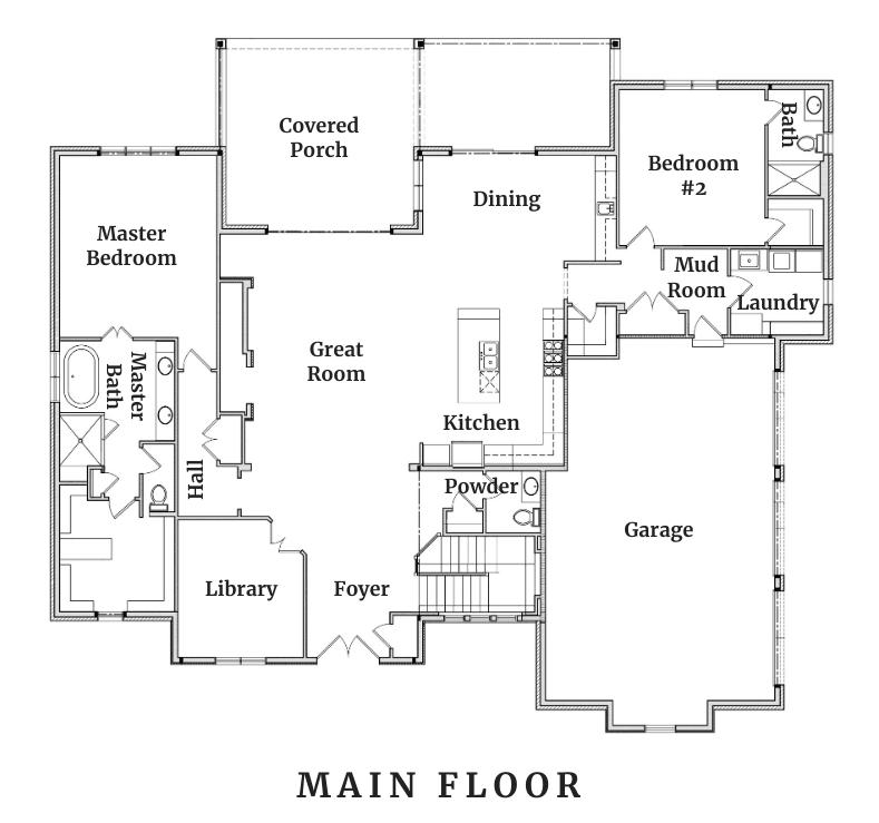 Main floor plan of Oakbrooke Hensley Homes