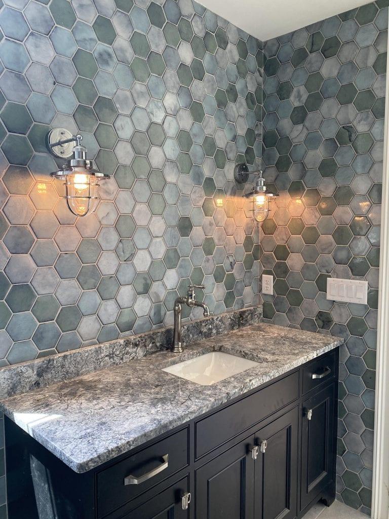 hexagonal tiles in pool bath